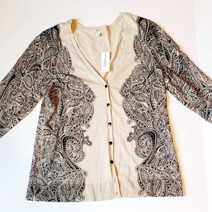 Dress Barn Paisley Patterened Cardigan - L